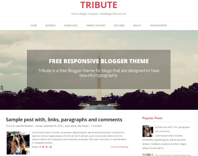 Tribute Responsive Blogger Template Free Download