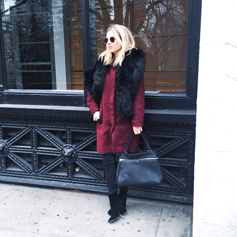 Heleneisfor bb dakota, Céline Edge bag, Free People boots, NYC, vintage fur