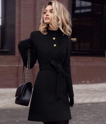 Palton dama elegant ieftin de iarna negru stofa evazat Dulcis