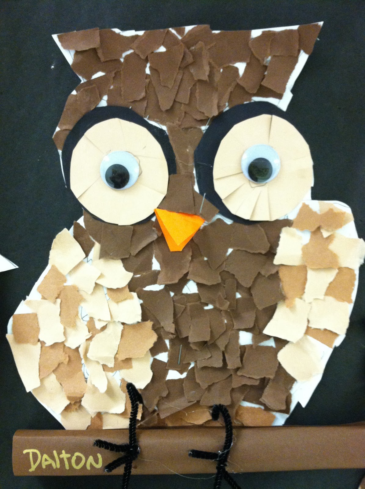 Getting My Art Wings Back Grade 1 Torn Paper Owls