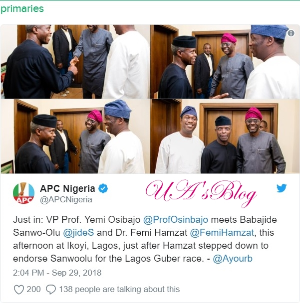 Breaking: Osinbajo meets with Tinubu's anointed candidate Sanwo-Olu