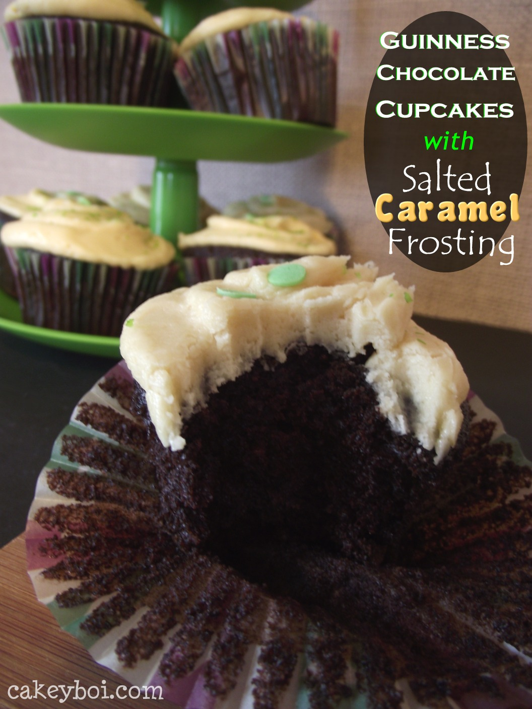 Chocolate Guinness Cupcakes, Salted Caramel Frosting