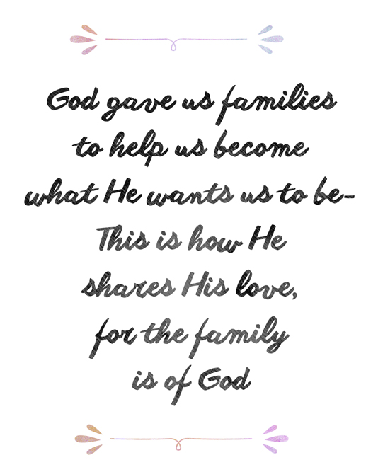 God gave us families printable