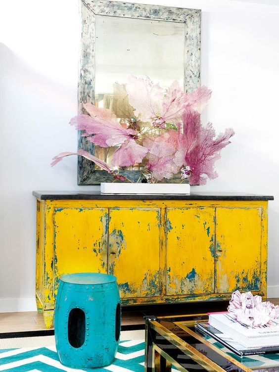 Painted yellow furniture enliven this space- design addict mom