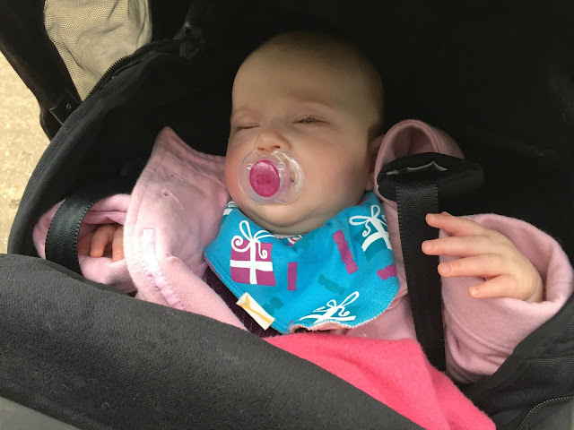 Tin Box Baby sleeping in her pushchair