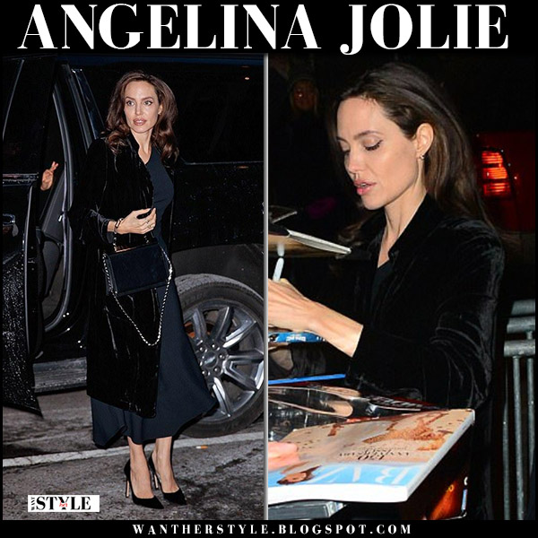 Angelina Jolie in black velvet coat for love and lemons and black suede pumps christian louboutin pigalle elegant style december 14