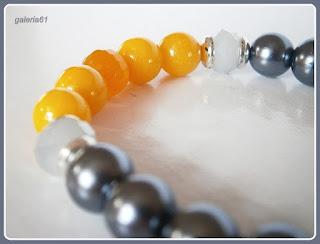 bransoletka na gumce, szara, żółta