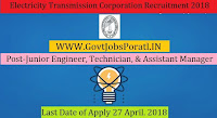 West Bengal State Electricity Transmission Company Limited Recruitment 2018-292 Junior Engineer, Technician, & Assistant Manager