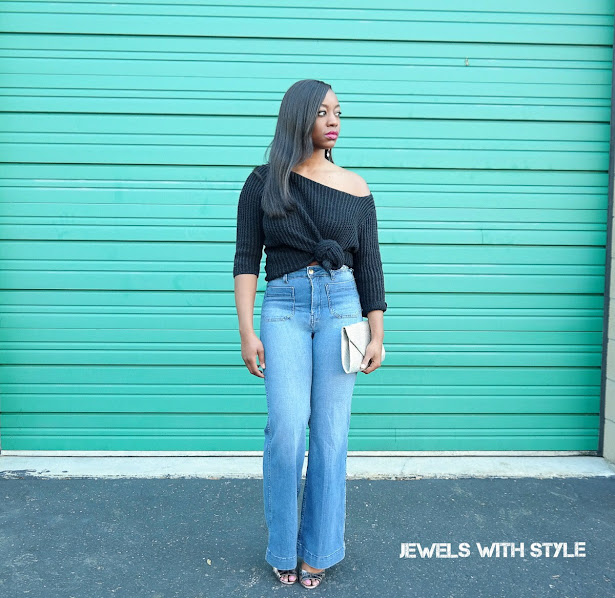 how to wear off shoulder tops, cold shoulder tops, cold shoulder trend, cold shoulder tops, off the shoulder outfit ideas, jewels with style, columbus stylist, columbus personal stylist, black fashion blogger, black style blogger, black off the shoulder shirt, how to wear flares, h&M flare jeans