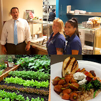 Collage of images of Cafe at Rio staff, the Cafe at Rio Garden and a dish with grilled chicken, colorful vegetables and sides.