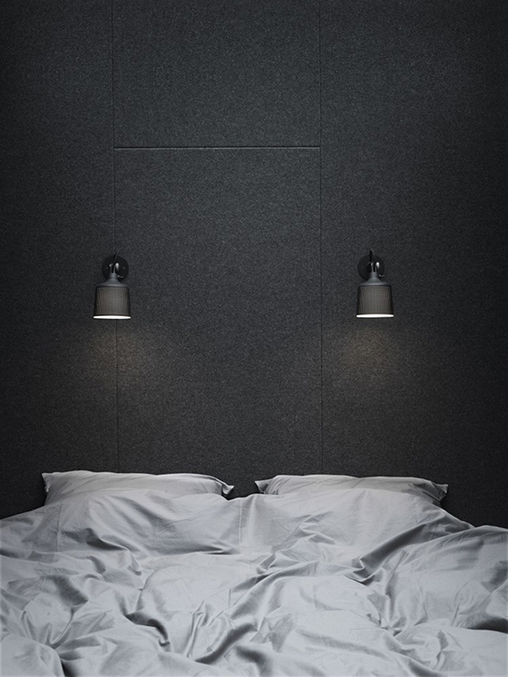 Black bedroom wall via Vipp Shelter