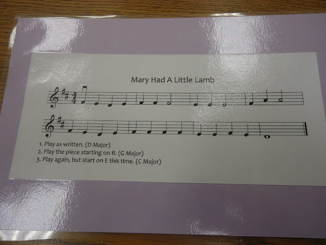 Transposing: Transposition card for elementary orchestra