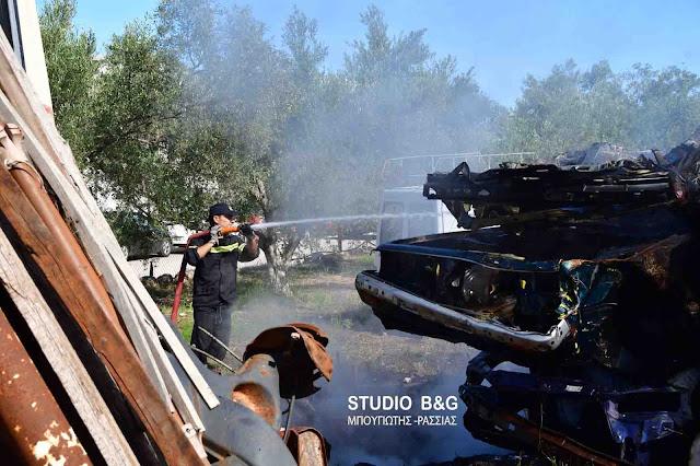 Ναύπλιο: Πυρκαγιά σε συνεργείο αυτοκινήτων στα Πυργιώτικα