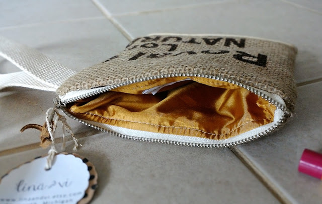 New York Burlap Wristlet - coffee sack bag - linaandvi.etsy.com