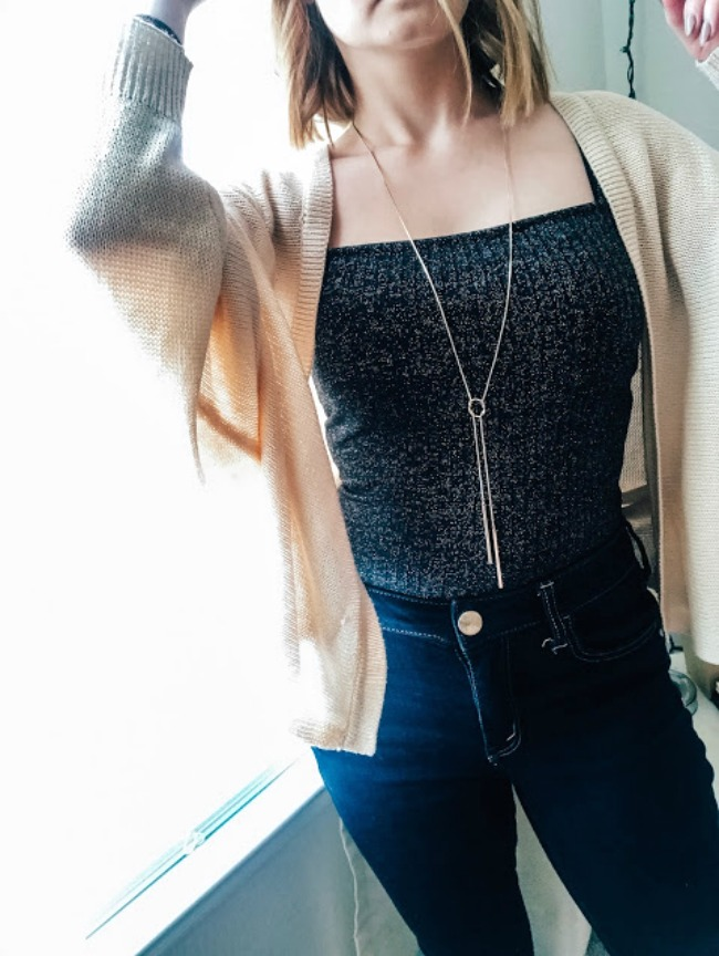 Metallic Bodysuit & Cardigan