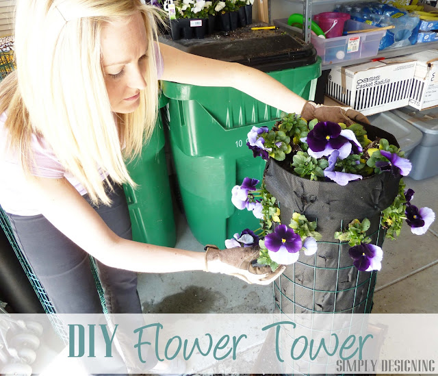 Put flowers in Flower Tower, DIY Flower Tower, Simply Designing, #digin #heartoutdoors #spring #sponsored
