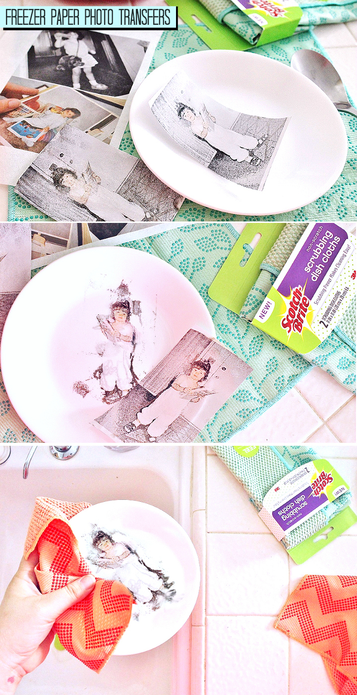 Transfer photos and images with freezer paper and an injet printer- custom photo plates. #MySpringClean #TeamDishCloth #AD