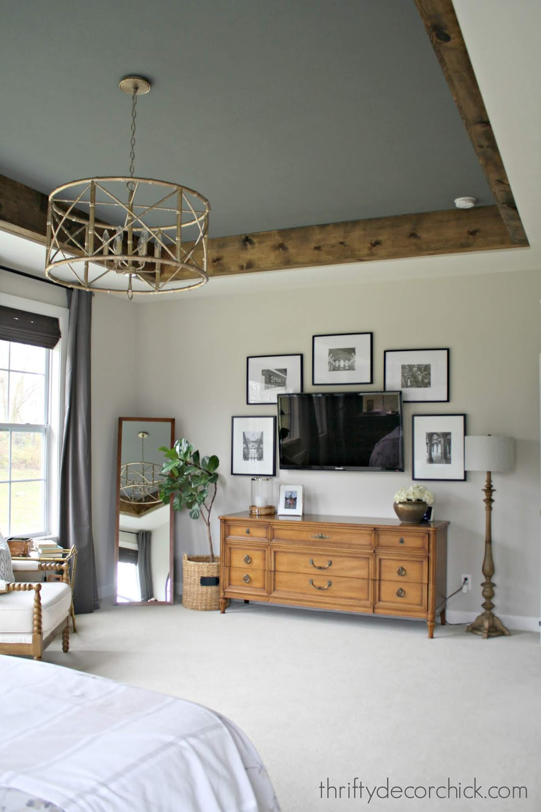 DIY wood beams around painted tray ceiling