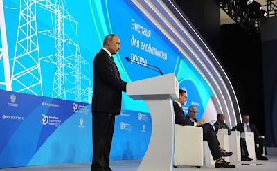 President of Russia Vladimir Putin. Russian Energy Week Forum in Moscow.