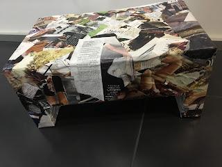 DIY...mesa de apoio, com caixa de cartão, Porta Velas...Reciclar, reaproveitar, reutilizar