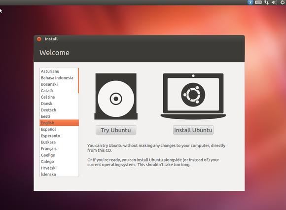 Ubuntu Install - Jendela awal instalasi Ubuntu