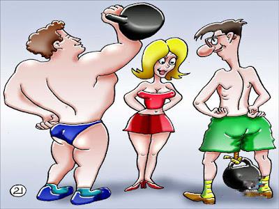 Partnersuche - Zwei starke Männer und ein Frau Comic lustig