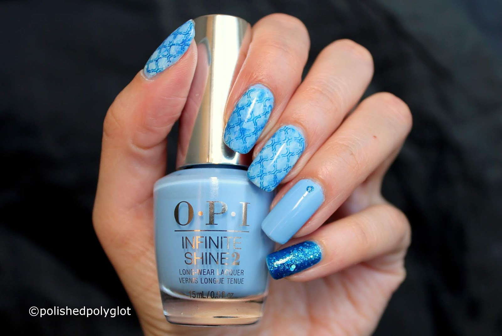 Nail Art Blue Over Blue Nail Design Polished Polyglot