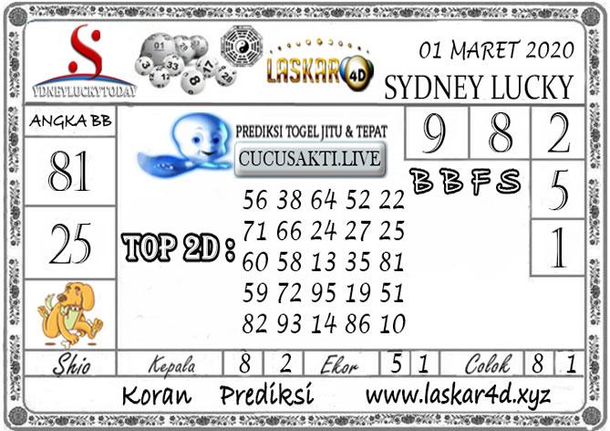 Prediksi Sydney Lucky Today LASKAR4D 01 MARET 2020