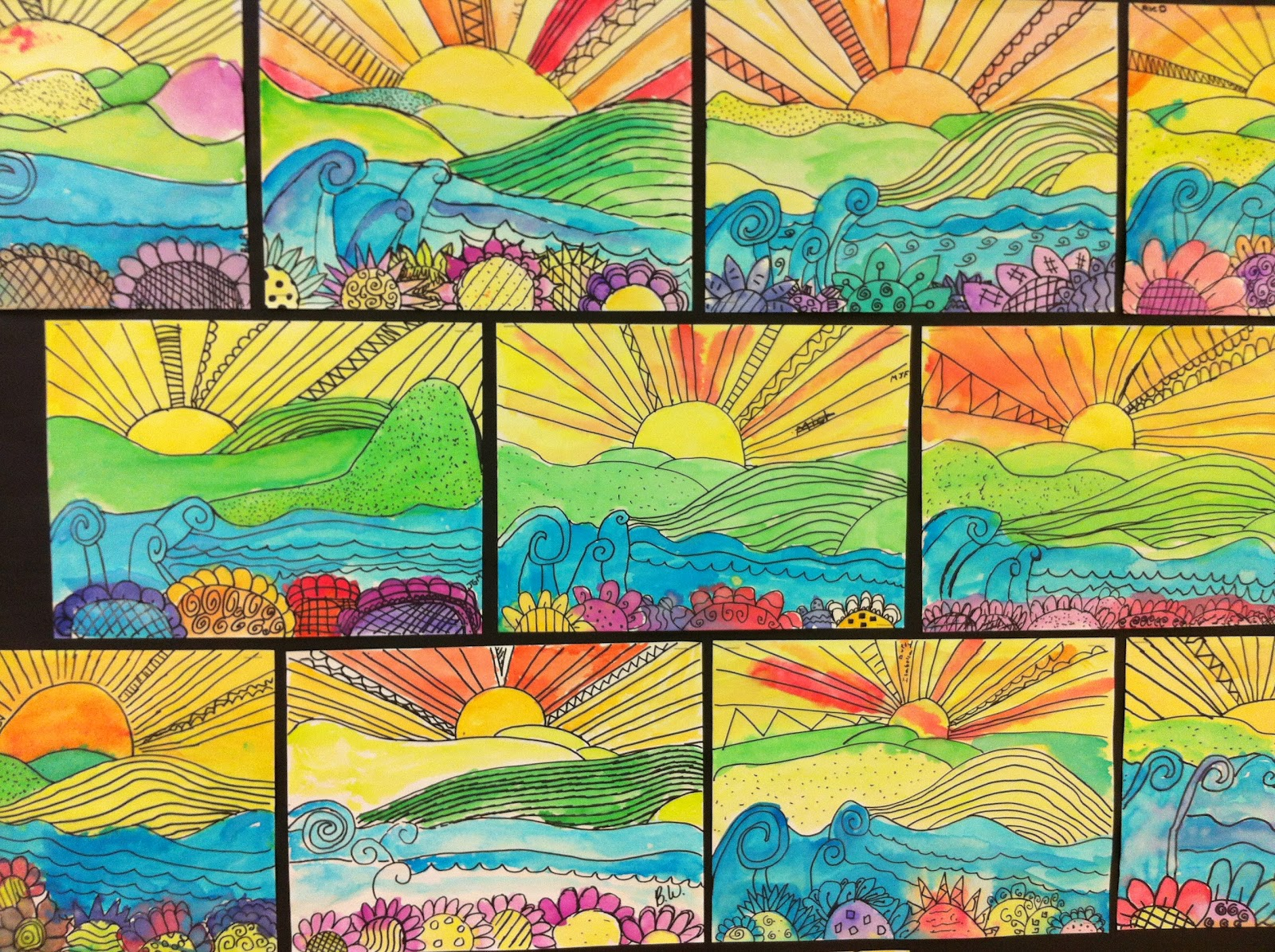 sunset4  Th Grade Art Landscape on science clipart, crystal gems rocks, painting effects, projects easy crafts, salvador elementary, lessons flowers,