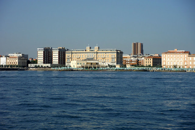 Grand Hotel Palazzo, Pancaldi and Piazza Matteotti high rise seen from the sea, Livorno
