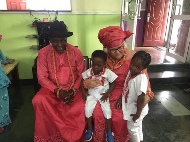 Photos: Vigilante Chairman weds older white woman in Delta State