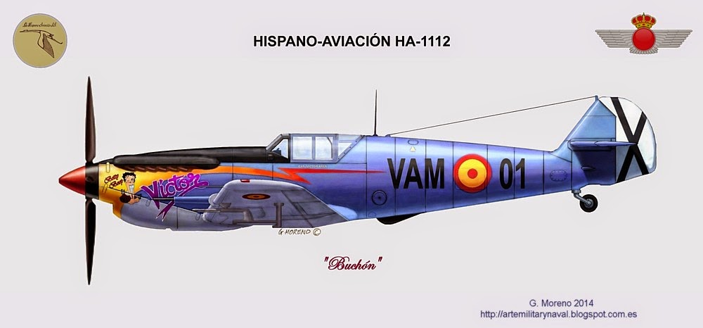 Pintura de un avion HA 1112 Buchon  de Hispano-Aviación