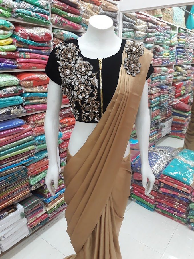 bollywood style designer cream saree black haevy redy made blouse