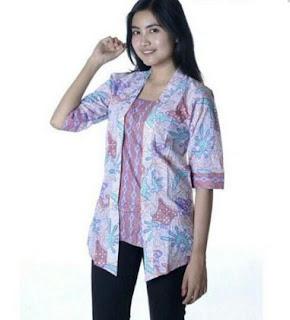 Kemeja Batik Wanita Lengan Panjang Motif Bunga