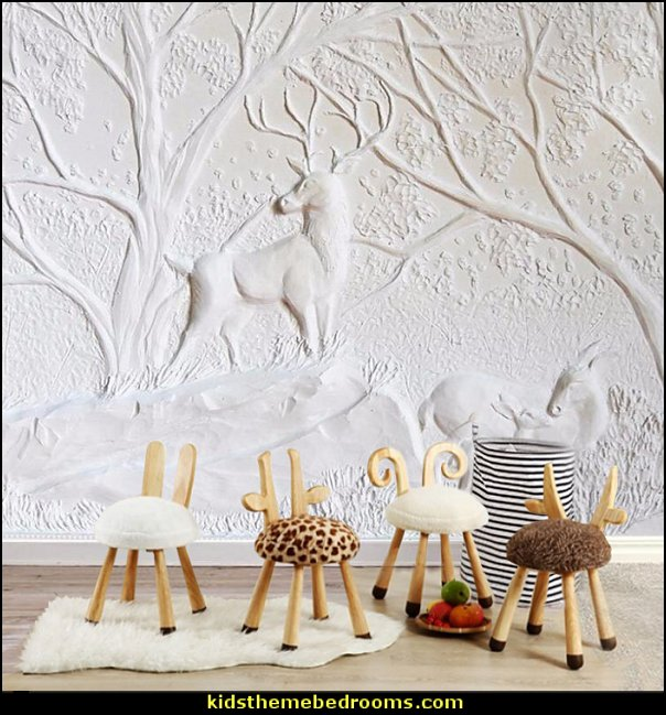 nordic animal chair ottoman   Tree Murals - tree wall decals - tree wall murals - Tree Wallpaper - tree wall stickers -  decorating with trees - tree wallpaper mural - Outdoor Bedroom decorating ideas - birch trees - forest trees wallpaper murals - tree props