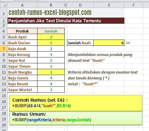 Contoh Rumus Excel Penjumlahan Bersyarat Text