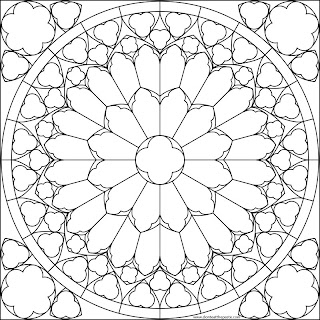 Notre Dame South Rose Window Coloring Page