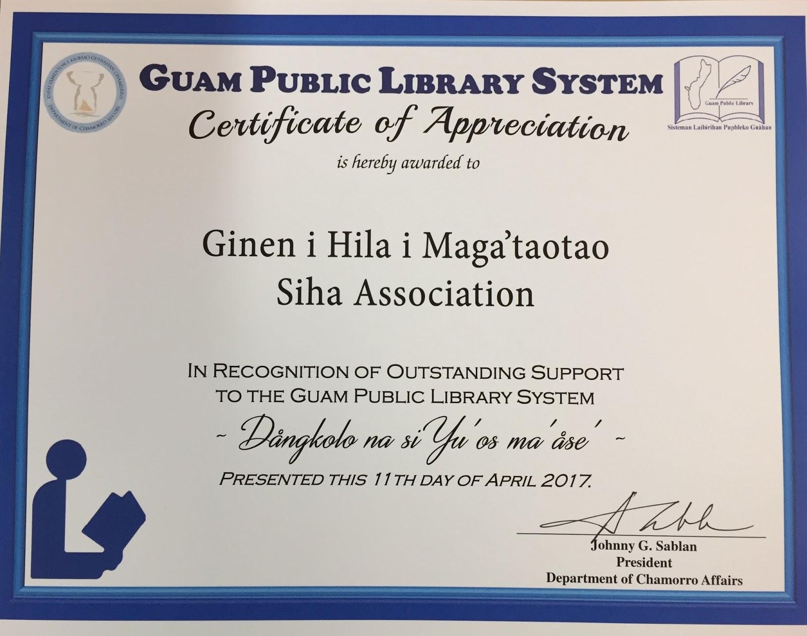 Ginen i hila i magataotao siha association guam public library guam public library system certificate of appreciation april 11 2017 yadclub Choice Image