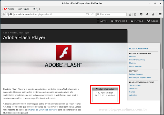 "Adobe Flash Player em execução no Mozilla Firefox (Debian 9 ""Stretch"")"