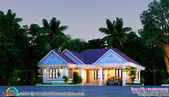 Outstanding night view rendering of a sloping roof home