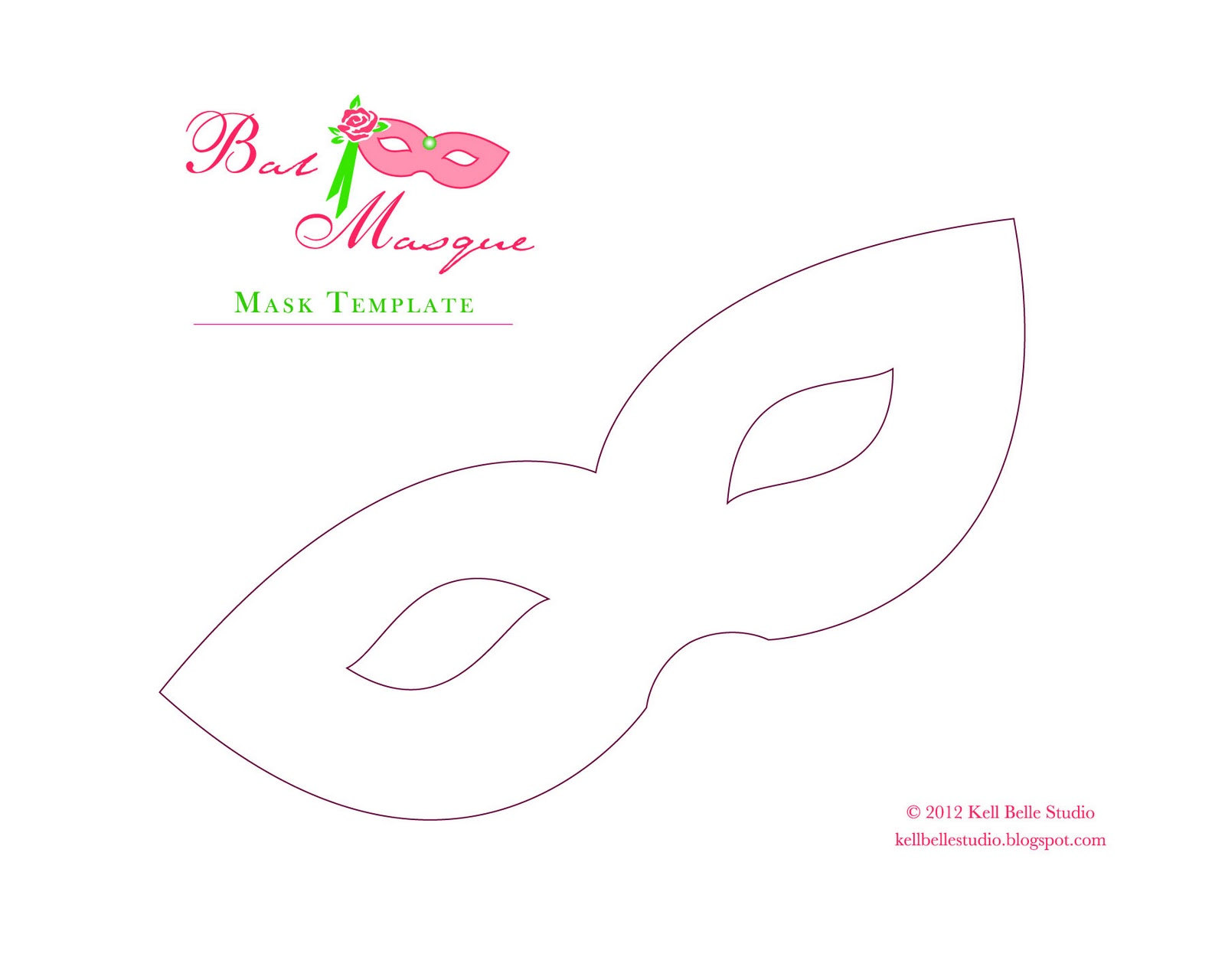 free paper mask template - click image for full size (8 x 10 inches)
