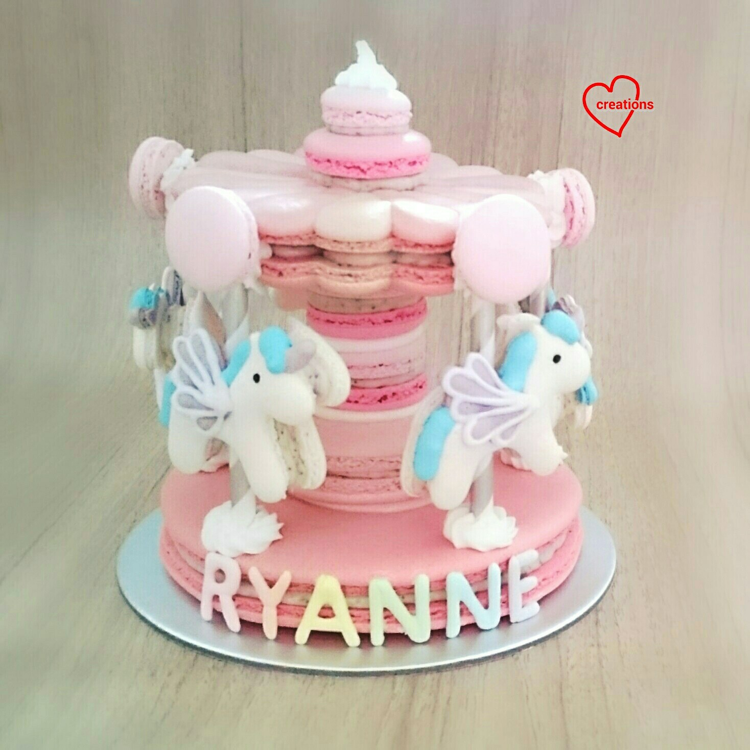 Loving Creations For You Pink Unicorn Macaron Carousels