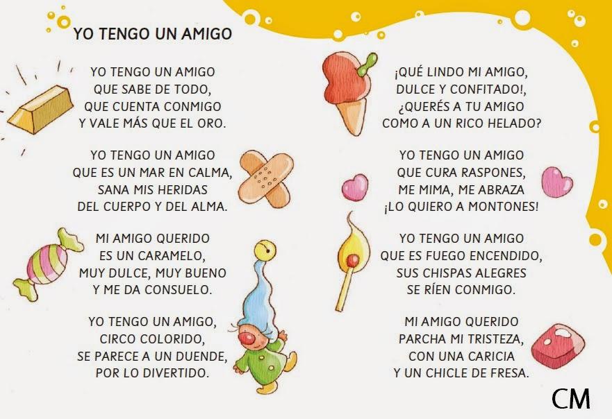 Poemas escritos de amistad para ninos
