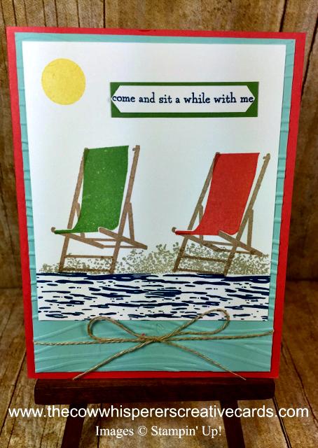Card, Colorful Seasons, Sitting Here, Seaside Embossing Folder