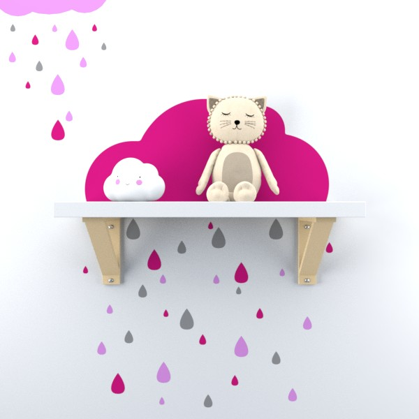 Adesivo de parede Nuvem de chuva para quarto de Bebe menina