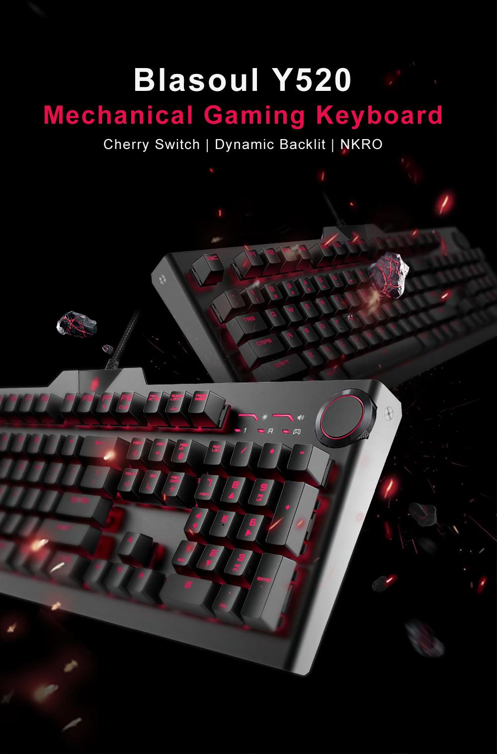 Blasoul Y520 Gaming Mechanical Keyboard 104 Keys 15 Rgb Backlight Ducky One Black Non Backlit Cherry Mx Blue Switch 1000hz Wired