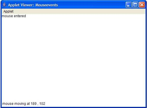 mouse event handling in java