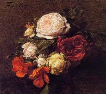 Rosas e Nasturtiums - Henri Fantin-Latour - Suas melhores pinturas ~ francês