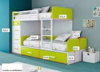Planos y medidas para literas, camas dobles o cuchetas para niños