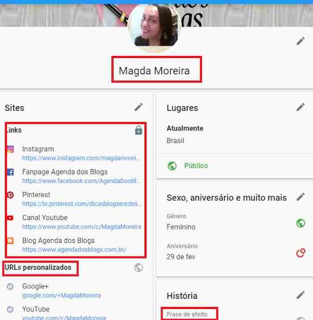 Editando o título Sobre na capa do Google+